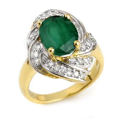 ACA Certified-3.29 ctw Emerald &amp; Diamond Ring 14K Yellow Gold-Retail $2,870
