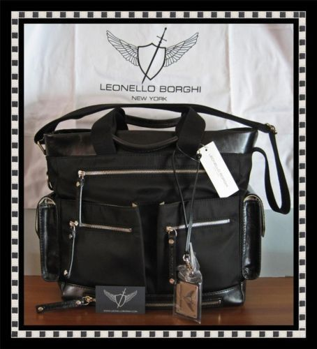 LEONELLO BORGHI MENS BLACK NYLON & LEATHER TOTE BAG NWT