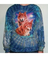 Hanes Heavyweight Ladies Tie Dyed Long Sleeve Wolf Shirt Size XL