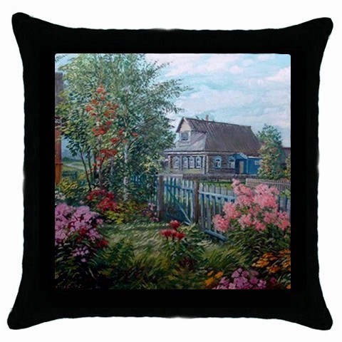 Country Home Dream Throw Pillow Case (Black) - East York :  black throw pillow gray clouds