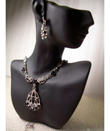 GENUINE AUSTRIAN BLACK CRYSTAL JEWELRY SET Vict... - $12.50