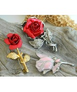 Vintage Red Pink Rose Enamel Marcasite Brooch P... - $24.95