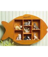 Fish Shape Shadow Box Wooden Wall Display Shelf - $18.95