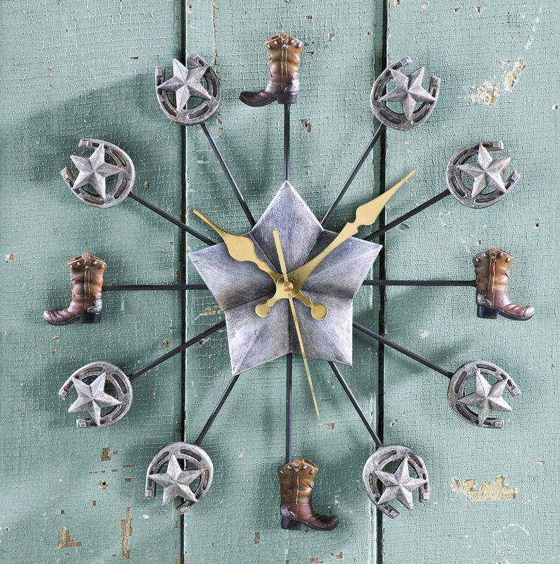 Western Horseshow Wall Clock New