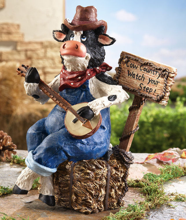 Banjo Country Music Cow In Overalls Garden Statue New