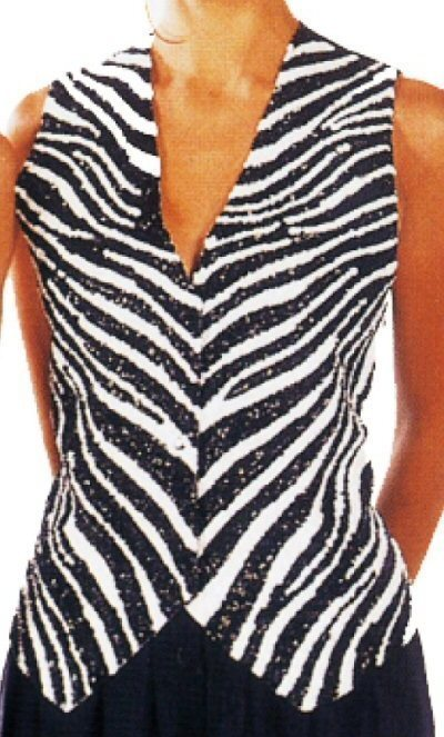 Black and White Zebra Print Vest with Full Front Sequins