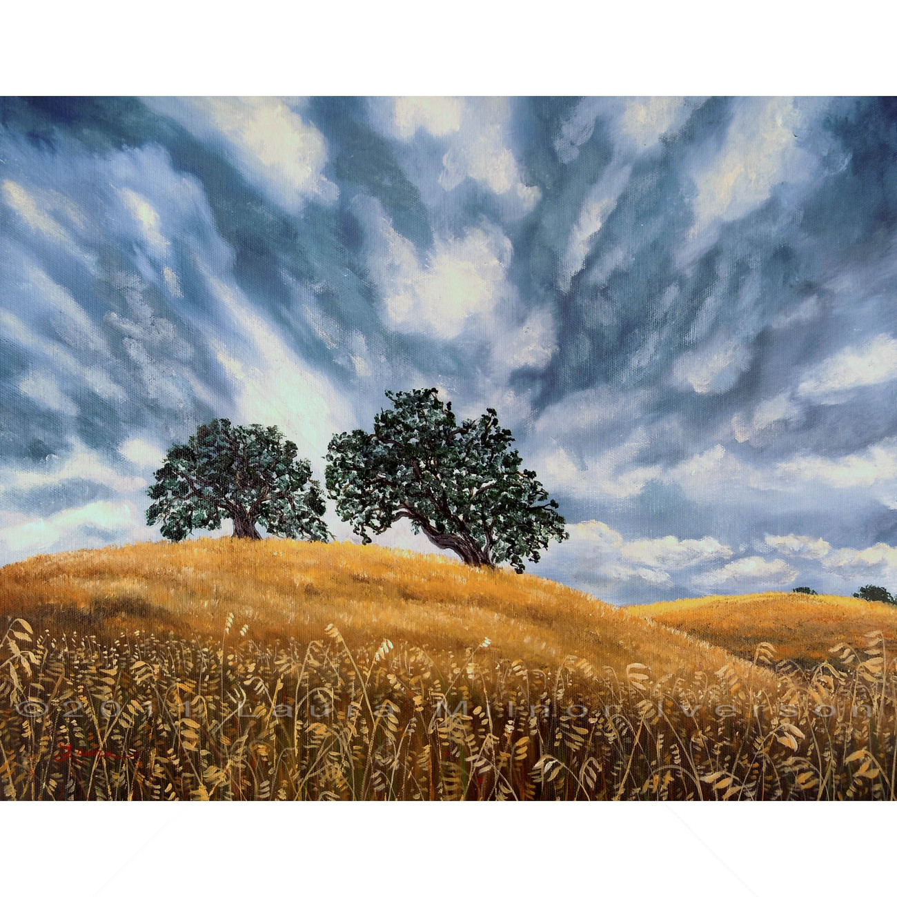 California Dramatic Golden Hill Oak Tree Gray Landscape Original Painting Art