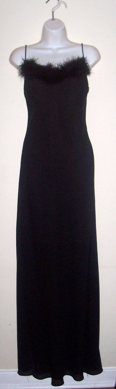 Vtg Black Feather Gown Dress BLACK SWAN COUTURE