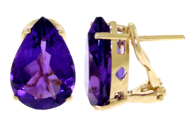 14K GOLD OMEGA EARRING 10 CT NATURAL AMETHYSTS