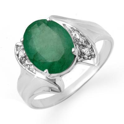 ACA Certified-2.32 ct Emerald & Diamond Ring 14K W Gold
