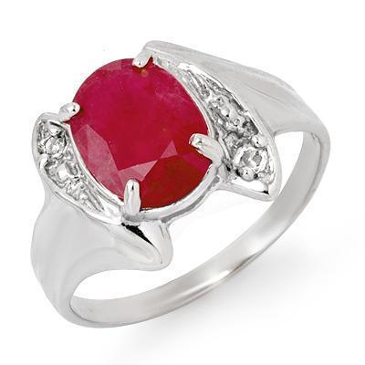 ACA Certified-3.12ct Ruby & Diamond Ring 14k White Gold