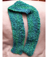 Ladies neck scarf Handknit Blue/green Acrylic B... - $4.50
