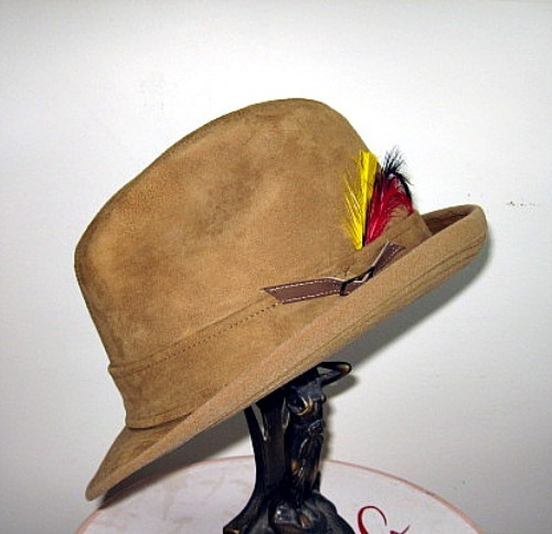 70s guys mens fedora hat tan suede