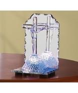 Statue Glass Mirror Light Jesus On The Cross - $9.60