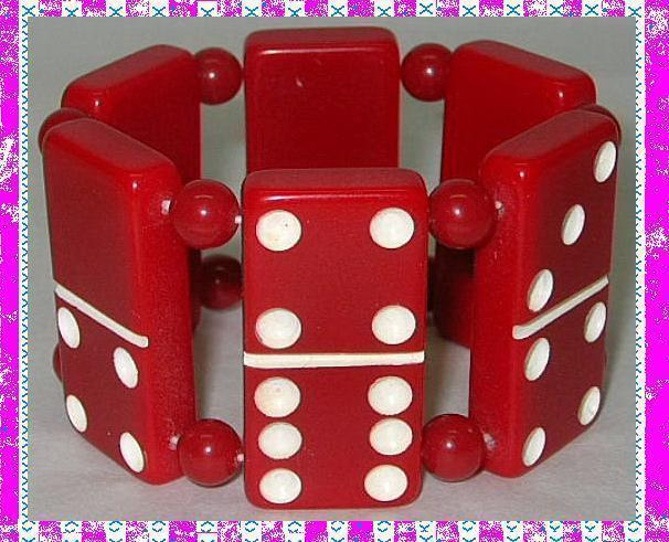 Vintage domino links bakelite bracelet deep red stretchable