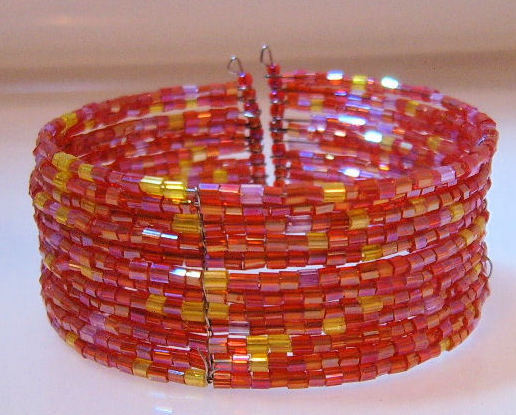 Bracelet_bangle_orange_red_yellow_beads