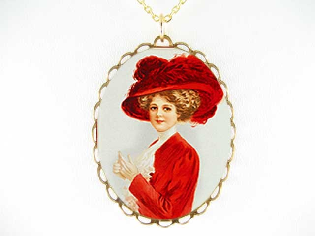 VICTORIAN RED HAT YOUNG LADY * CAMEO PORCELAIN NECKLACE