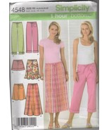 Simplicity 4548 Misses' Skirt & Pants Sewing Pattern, Sizes 14-22 - $4.50
