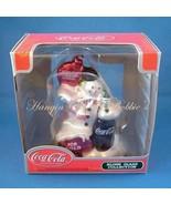 Coca Cola Blown Glass Christmas Ornament Snowma... - $12.99