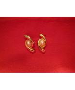 Vintage Gold Toned Pearl Stone Stud Earrings - $10.00