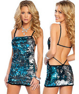 Sexy One-piece string Halter sequin Mini-Dress ... - $19.90