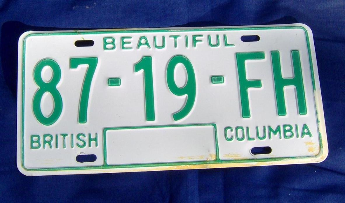 1979 to 1986 Vintage Canada BC License Plate Single