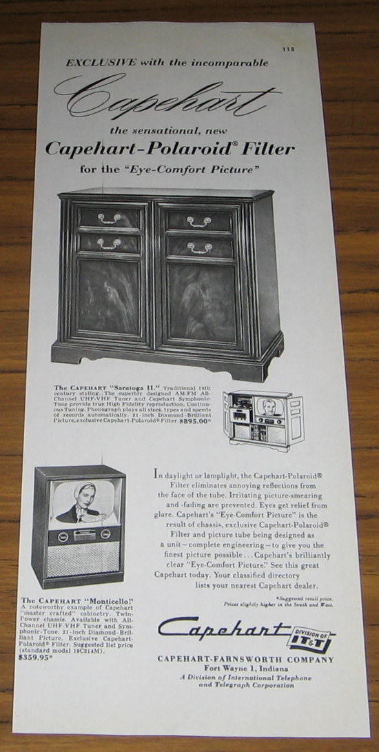 1954 Ad Capeheart Radio Phono & Monticello TV