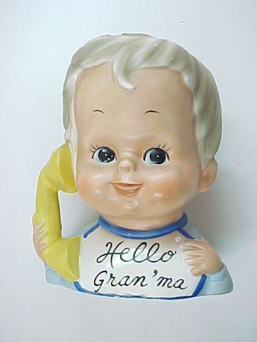 Vintage Inarco Boy Talking to Grandma on Phone Head Vase No  E436