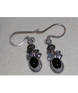 Black Onyx and Sterling Silver Leaves Earrings - $8.00