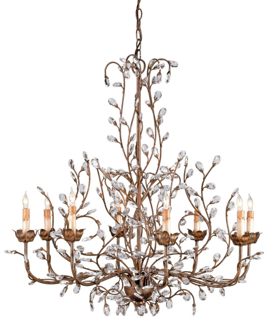 CURREY & CO. COMPANY Crystal Bud Chandelier # 9884, Large, Cupertino, NIB!