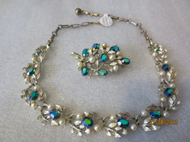 Lisner Set Faux Pearl and Green Rhinestone Gold... - $30.00