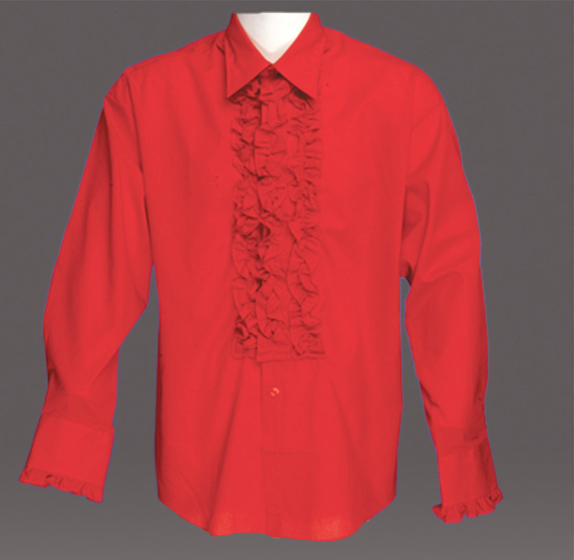 for Red ruffled tuxedo shirt