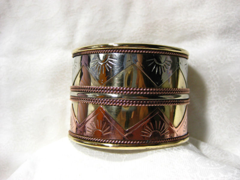"Vtg 2"" 3  Metal Brass Copper Cuff Bracelet SUN Design"