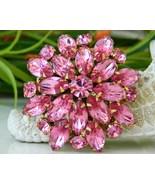 Vintage Hot Pink Rhinestones Tiered Flower Pin ... - $24.95