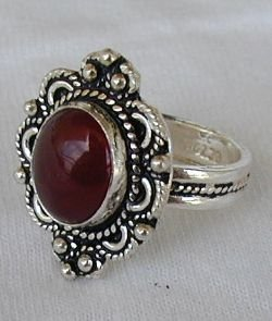 ZV Red agate silver ring