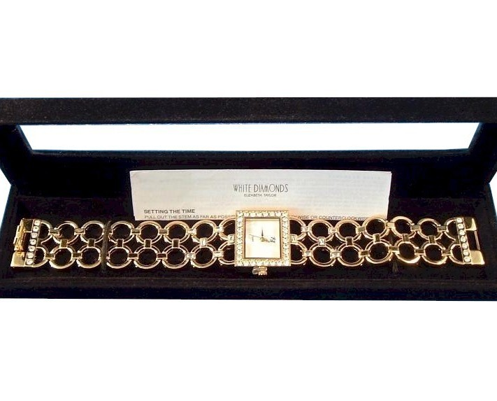 Elizabeth Taylor White Diamonds Watch Clear Crystal Goldtone