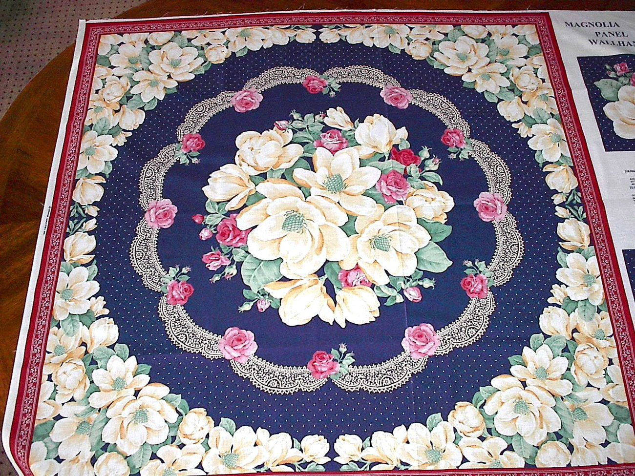 Magnolia rose floral fabric panel cotton quilting quilt for Quilting fabric sale