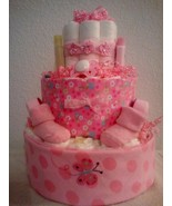 Pink Butterfly Flowers Diaper Cake Baby Shower Gift Centerpiece