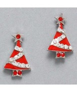 Christmas earrings red enamel christmas tree si... - $9.89