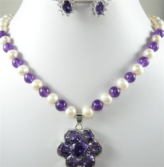 Lady's noblest white pearl &purple jade necklace +crystal pendant earring set