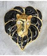 Fabulous 80s Rhinestone Black Enamel Leo Lion B... - $29.95