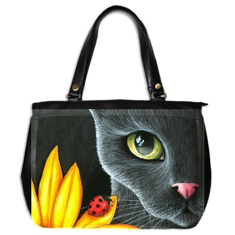 Office Handbag Bag Purse from art painting Cat 510 ladybug