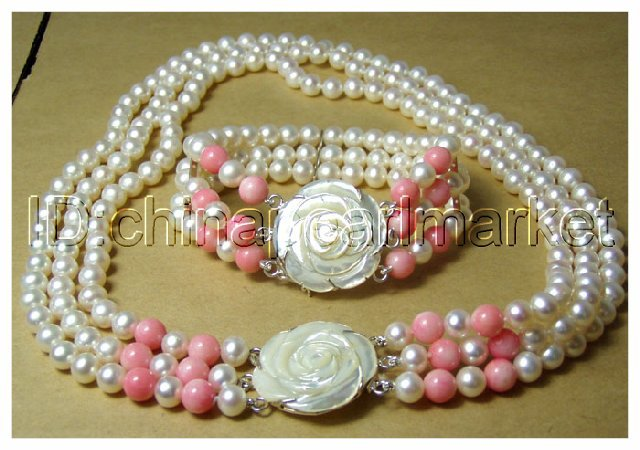 noblest 3 row cultured white pearl & pink coral necklace bracelet set