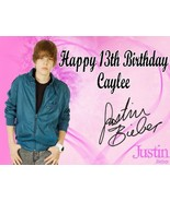 Justin Bieber Signature  Custom Cake Topper