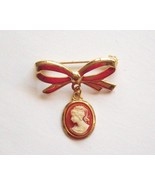 Dainty Cameo Brooch Pin Bow Shaped Vintage  - $5.95
