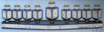 Chanukah Hanukkah Dreidels Menorah ceramic candle holder blue white