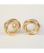 Vintage Clip On Circle Earrings Twist Swirl Sty... - $6.99