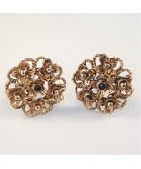 Vintage Clip On Earrings Detailed Flower Design... - $16.99