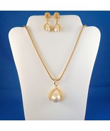Vintage Faux Pearl Necklace Pierced Earring Set... - $24.99