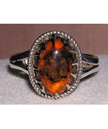 Sterling Silver and Amber Prong Set Ring size 6 - $29.00
